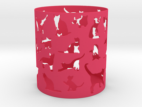 Cat Pen Holder  in Pink Processed Versatile Plastic
