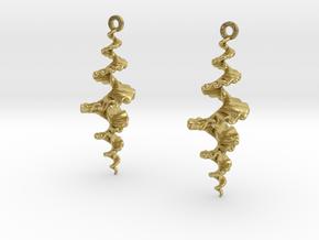 Fractal Sp. Earrings  in Natural Brass