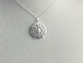 Westworld Maze Pendant (round) in Polished Silver