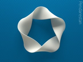 Folded Mobius Quintuplex in White Processed Versatile Plastic: Small