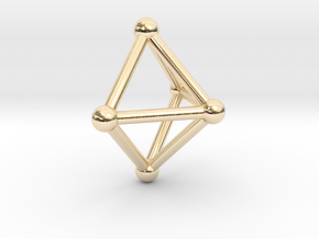 0720 J01 Square Pyramid V&E (a=1cm) #2 in 14k Gold Plated Brass