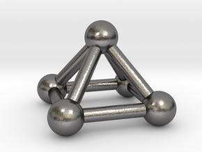 0721 J01 Square Pyramid V&E (a=1cm) #3 in Polished Nickel Steel