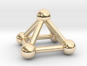 0721 J01 Square Pyramid V&E (a=1cm) #3 in 14k Gold Plated Brass