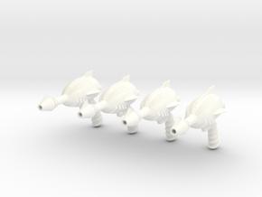 """Space Angel"" Blaster Pistol - 4 Pack (1:6 Scale) in White Processed Versatile Plastic"