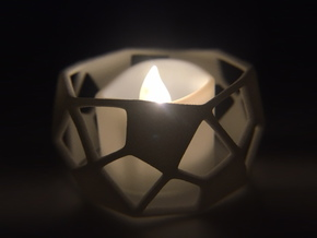 Deltoidal Hexecontahedron Tealight Ring in White Processed Versatile Plastic