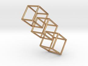 Three interlocking cubes in Polished Bronze (Interlocking Parts)
