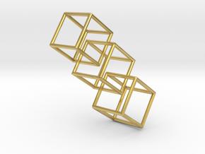 Three interlocking cubes in Polished Brass (Interlocking Parts)