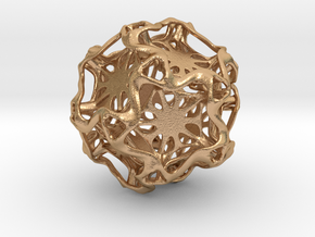 Drilled Perforated Dodecahedron Flower in Natural Bronze