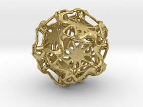 Drilled Perforated DodecahedronFlower in Natural Brass