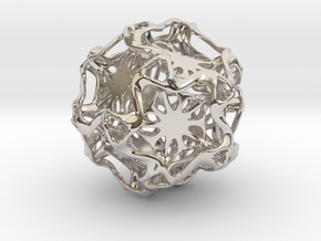 Drilled Perforated Dodecahedron Flower in Rhodium Plated Brass