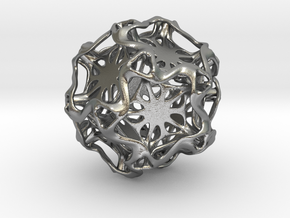 Drilled Perforated DodecahedronFlower in Natural Silver