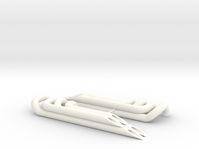 Scale V8 headers / exhaust for rat rods or other in White Processed Versatile Plastic