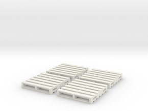 HO Scale Wooden Pallet (4 pack) in White Natural Versatile Plastic