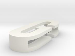 CHOKER SLIDE LETTER G 1⅛, 1¼, 1½, 1¾, 2 inch sizes in White Natural Versatile Plastic: Medium
