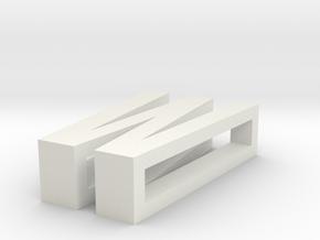CHOKER SLIDE LETTER W 1⅛, 1¼, 1½, 1¾, 2 inch sizes in White Natural Versatile Plastic: Extra Small