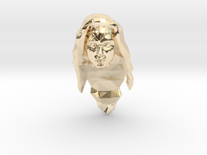 Wonder Woman Head in 14k Gold Plated Brass