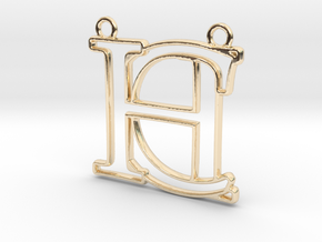 Initials C&H monogram in 14k Gold Plated Brass
