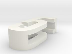 CHOKER SLIDE LETTER 5 1⅛, 1¼, 1½, 1¾, 2 inch sizes in White Natural Versatile Plastic: Extra Small