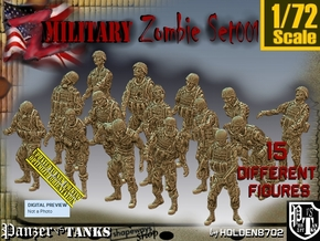 1/72 Army Zombies Set001 in Smooth Fine Detail Plastic