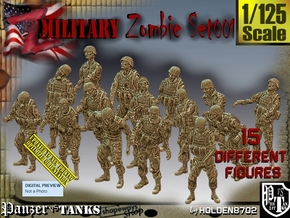 1/125 Army Zombies Set001 in Smooth Fine Detail Plastic
