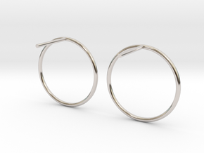 Billabong Circle Earrings in Rhodium Plated Brass