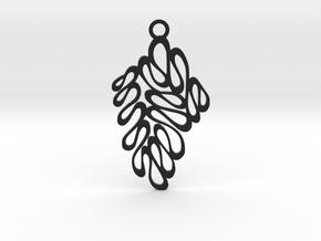 Wave pendant in Black Natural Versatile Plastic: Medium