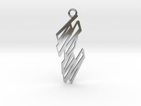 Zigzag pendant in Polished Silver: Medium