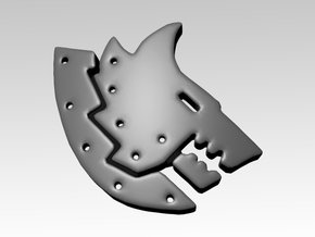 Metal Wolf Right Facing Shoulder Icons x50 in Smooth Fine Detail Plastic