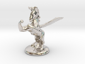 Wada Fu The Flying Fighting Unicorn™ in Rhodium Plated Brass: Small
