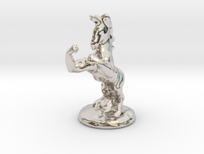 Fu The Fighting Unicorn™ small in Rhodium Plated Brass: Small