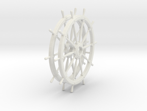 Two 10 spoke Ship's Wheels, 1:24 scale in White Natural Versatile Plastic