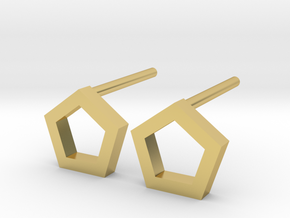 PENTA Mini Stud Earrings in Polished Brass