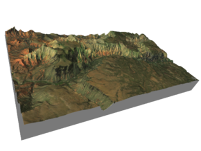 """Oak Creek Canyon Map: 7""""x12"""" in Glossy Full Color Sandstone"""