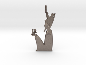 Atum amulet in Polished Bronzed-Silver Steel