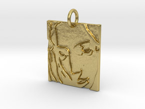 Mother Mary Abstract Pendant in Natural Brass: Extra Small