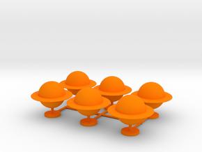 Game Pieces, Ringed Planet, 6-set in Orange Processed Versatile Plastic