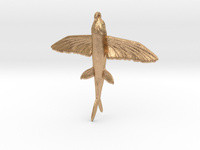 Flying Fish Pendant in Natural Bronze