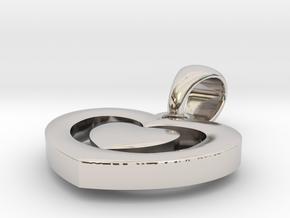 Heart shape pendant in Rhodium Plated Brass