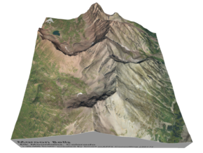 """Maroon Bells Map: 6"""" in Glossy Full Color Sandstone"""