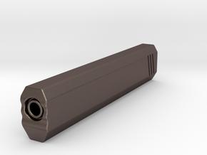 Hexa Silencer (200mm Long) (18mm External Barrel) in Polished Bronzed-Silver Steel
