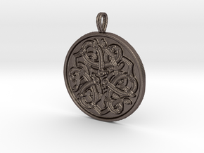 Jelling Style Medallion in Polished Bronzed-Silver Steel