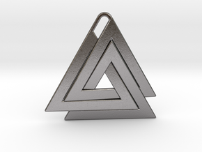 Valknut Pendant - Viking Symbol  in Polished Nickel Steel