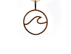 Wave Pendant in Natural Bronze