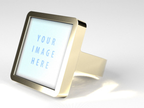 Square Signet Ring - Ring Band in Polished Brass: 11 / 64