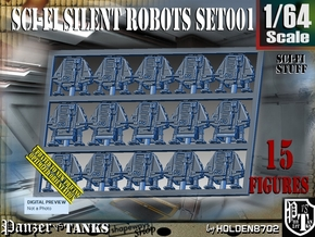 1/64 Sci-Fi Silent Robots Set001 in Smooth Fine Detail Plastic