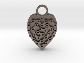 bike chain heart pendant in Polished Bronzed-Silver Steel