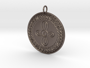 Celtic Shield Medallion - round cross in Polished Bronzed-Silver Steel