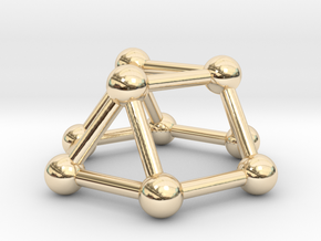 0727 J03 Triangular Cupola V&E (a=1cm) #3 in 14k Gold Plated Brass