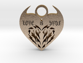 love is evol pendant 4 in Polished Gold Steel