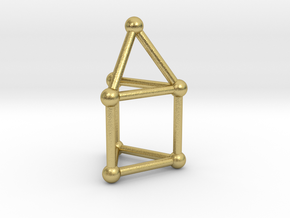 0738 J07 Elongated Triangular Pyramid (a=1cm) #2 in Natural Brass